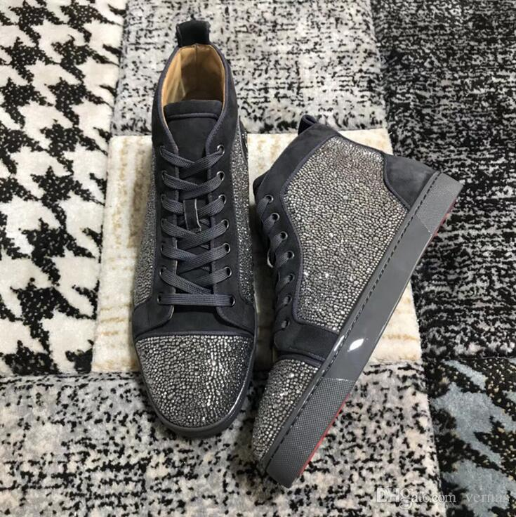 4b7e1706d6c Designer Shoes Orlato Flats Mens Womens Grey Strass Sneakers Luxury Brand  Hight Top Red Bottom Rhinestone Flats Sneaker With Box Cool Shoes Naot Shoes  From ...