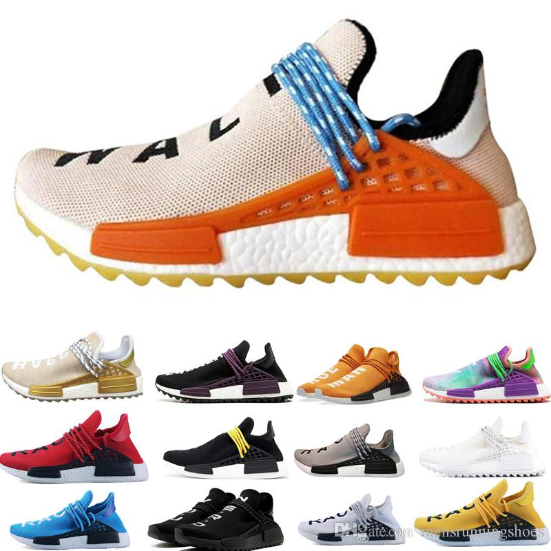 b31e5545aab13 2019 NMD Human Race Trail Running Shoes Men Women Nerd Pharrell Williams HU  Black Cream White Equality Designer Trainer Sport Sneaker Size 36 47 From  ...