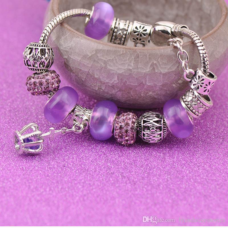 High Quality Silver Charms Bracelets Fit Pandora Women Purple Shining Crystal Glass Beads Lampwork Openwork Beaded Bangle Cross Pendant P206