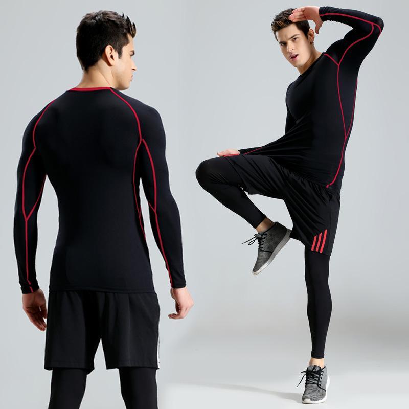 87a0badd25b54 Compre Medias De Traje De Compresión Para Hombres Nuevos Ejercicios De  Fitness