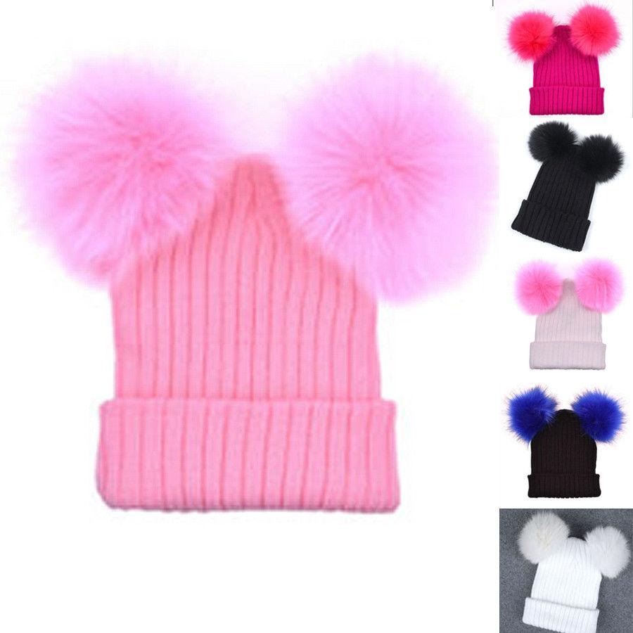 81e9c6723 Women Winter Warm Crochet Knit Beanie Hat with Double Pom Pom Ears Ski  Thick Cap Christmas Hats Fur Cute