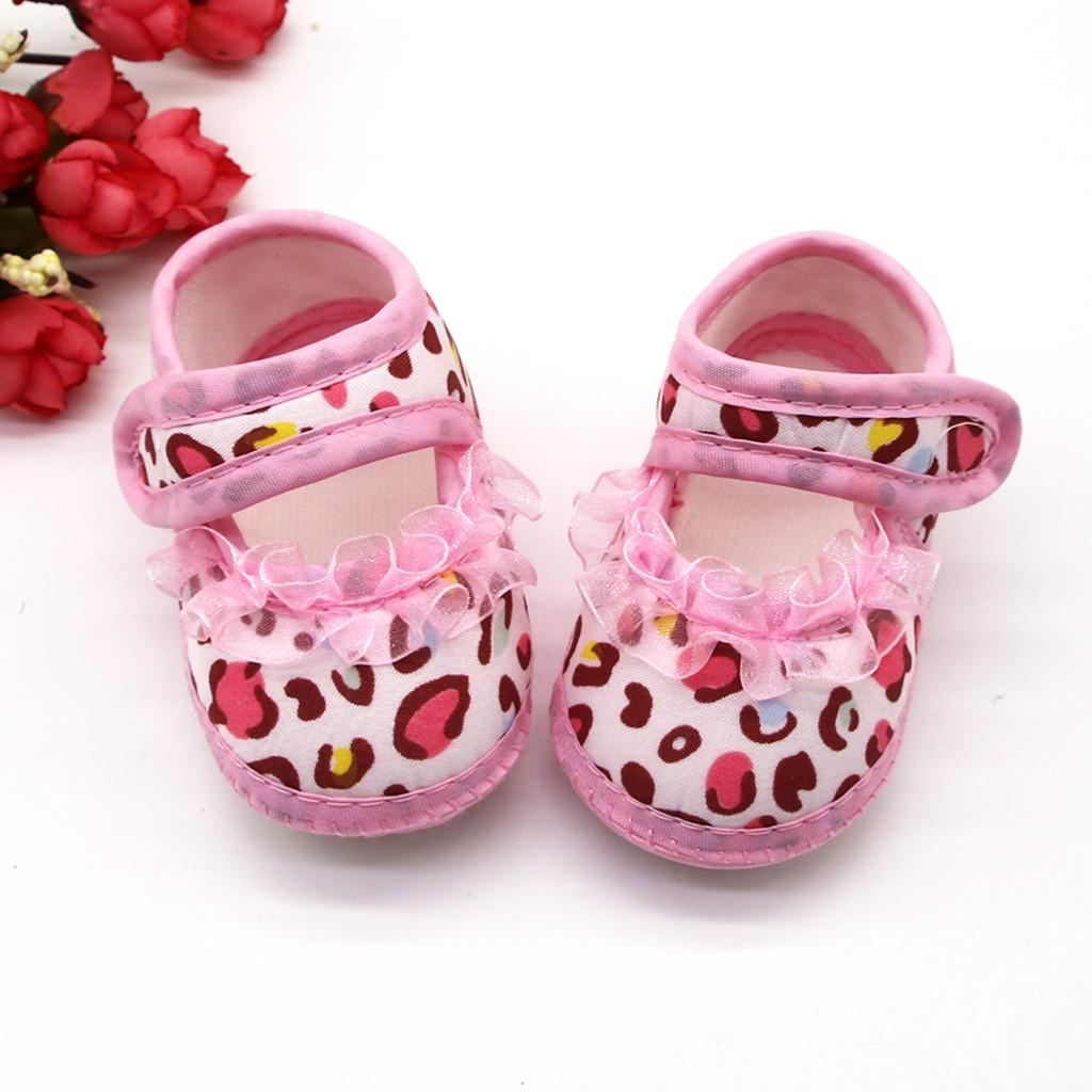Pink first walkers soft infant toddler shoes Newborn Baby Girls Leopard Print Prewalker Soft Sole Sandals Single Shoes Prewalke