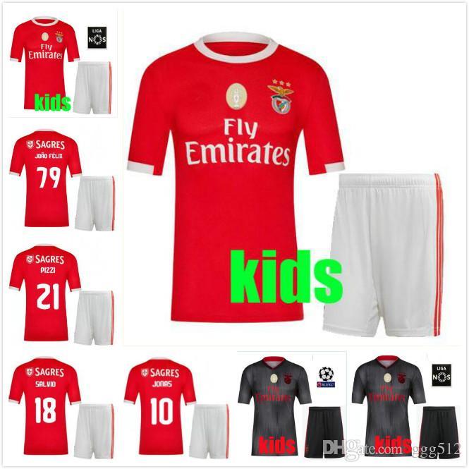 buy popular 22ebb 54de0 new 2019 Benfica home kids Soccer Jerseys kit 19 20 JOAO FELIX RAFA Pizzi  Salvio SEFEROVIC JONAS Raul Jimenez child boys set FOOTBALL SHIRT