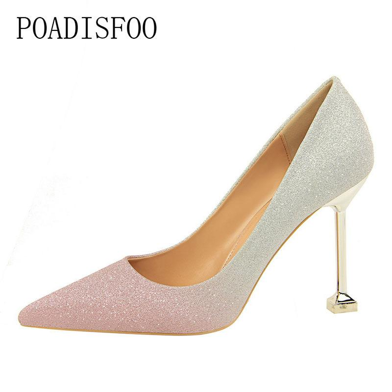 4dce8ed7036 Dress Poadisfoo Fine With High Heel Shallow Mouth Tip Mixed Color Shiny  Color Gradient Sexy Thin Women S Singles Shoes .Ds 1716 9 Black Shoes Nude  Shoes ...