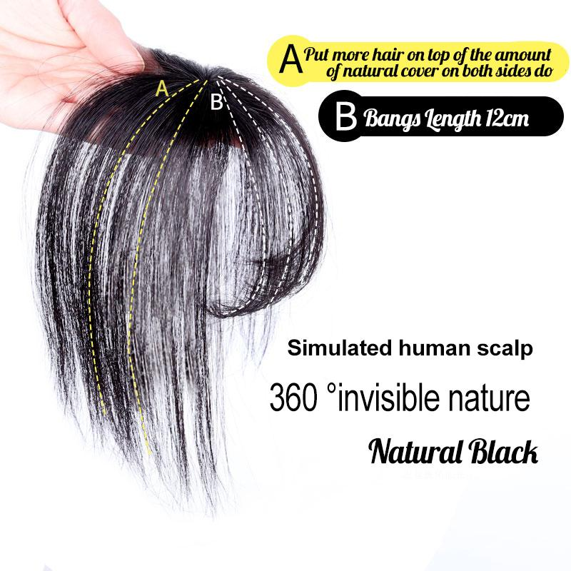 Real Human Hair Clip su Bangs Topper 3D Hand Made Air Bangs Corona Wiglet Posticci per le donne marrone scuro