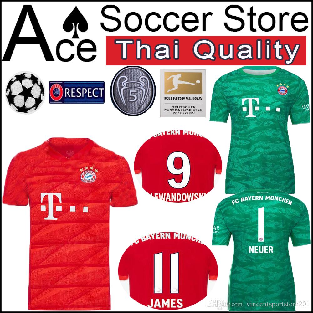 the best attitude 2a6ad f5317 New Bayern Munich 19 20 1 NEUER soccer Jersey goalkeeper Goalkeeper green  HUMMELS THIAGO JAMES TOLISSO red 2019 2020 MULLER Football shirt