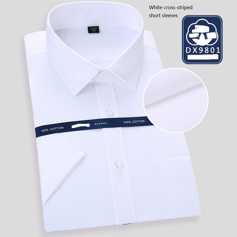 40de51af06 6 Colors Man 100% Cotton Non-ironing Short-sleeved Square Collar  Professional Shirts High-end Business Men's Wear WY0006