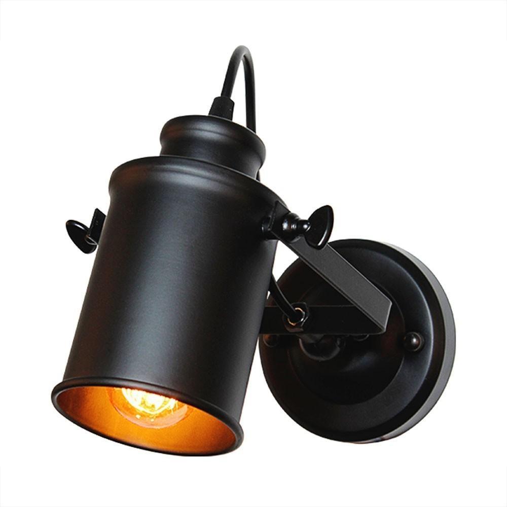 Pour Lampes Industrielle La Noir Loft Applique Café Éclairage Bar Américain Vintage Maison Fer Style Lampe Pays Rétro Murale En À Led XukPOZiT