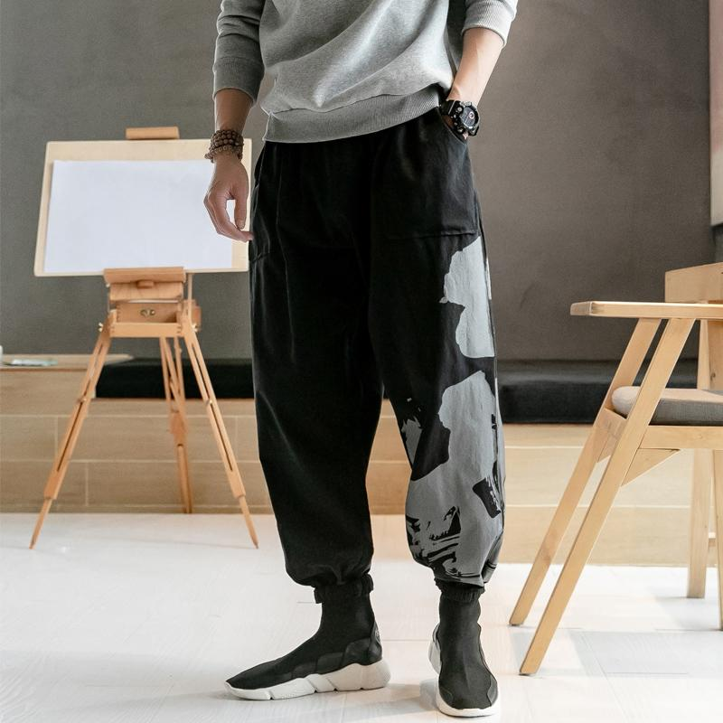 84e3dc5f7e4 2019 2019 New Men Chinese Style Print Cotton Linen Casual Harem Pants Male  Plus Size Trousers Joggers Sweatpants From Merrylily