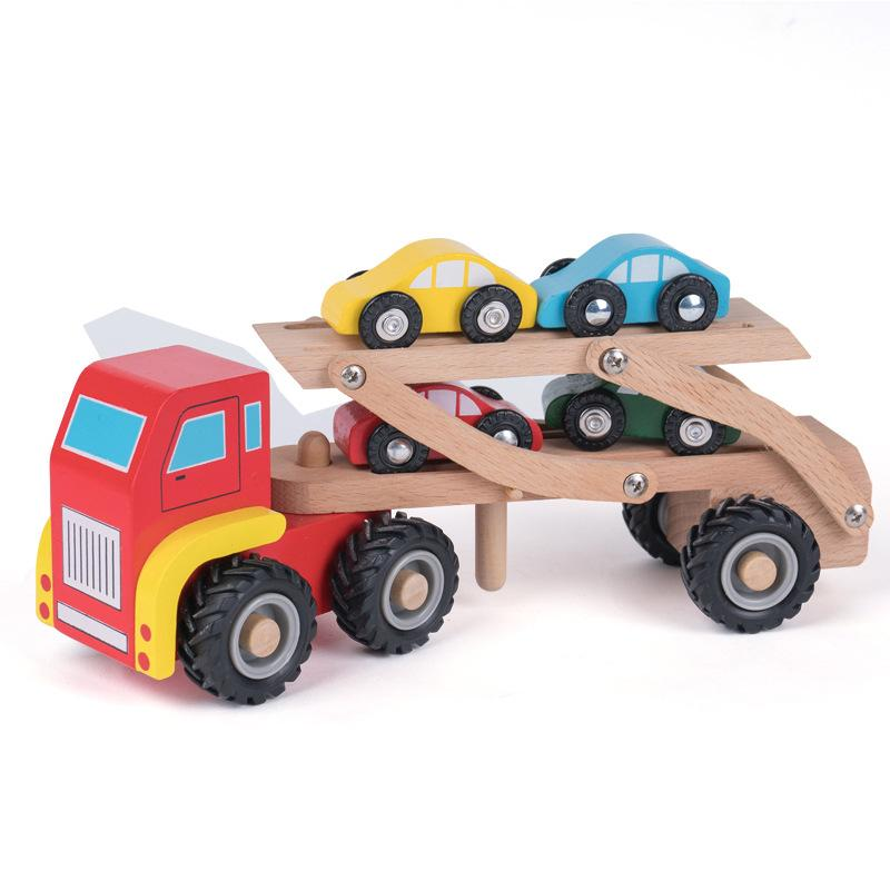 Double Deck Carrier Loader Models Wooden Diecast Model Cars Children Boys Gifts Trailer Truck 30 8hj F1