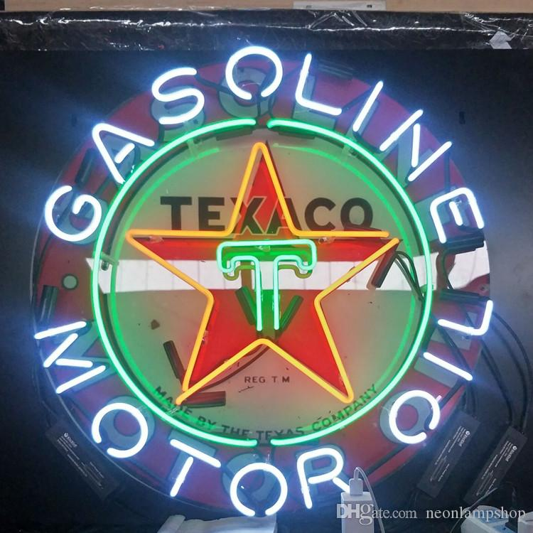 TEXACO GAS LINE MOTOR OIL Custom Neon Sign Light Outdoor Beer Entertainment Display Glass Neon Lamp Light Metal Frame 17'' 20'' 24'' 30''