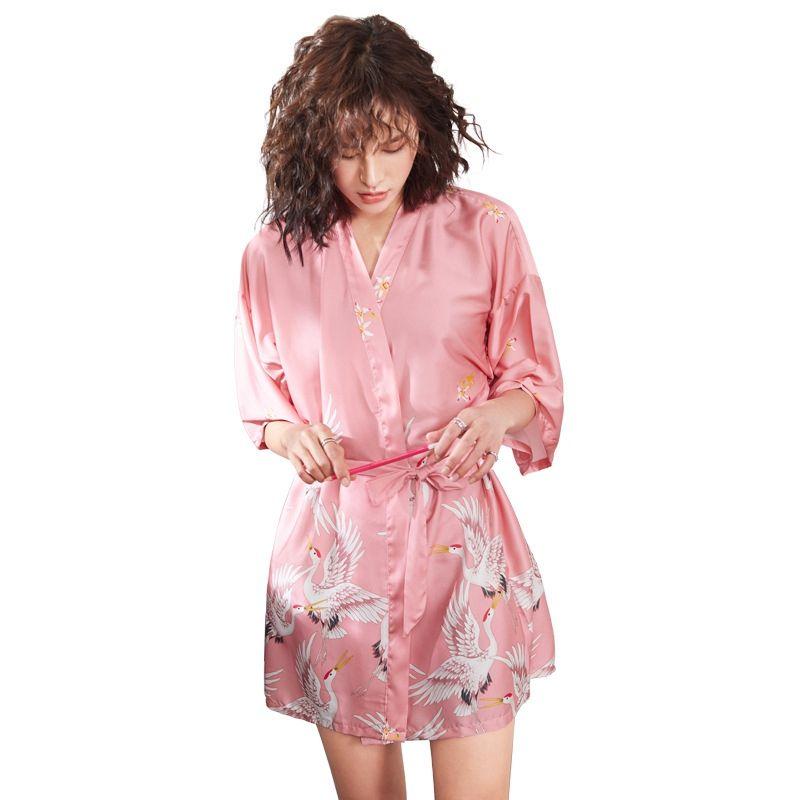 Women Bridesmaid Bathrobe Sexy Plus Home Pink Suit Lingerie Stain Printed Black Silk Size Bride Robe Japanese Kimono sCtQrhdxB