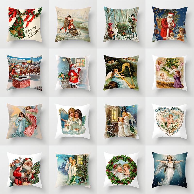 Pillowcase Christmas Angel Christmas Old Pillow Case Festival Home Decoration Sofa Car Pillow Pad Set New Factory Wholesale
