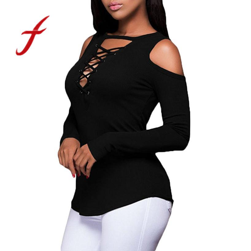 86e8ad8f4d Feitong Plus Size Womens T Shirts Causal Strapless Lace Up Cross Neck  Bandage Long Sleeve Tops Tee Shirt Femme camisetas mujer