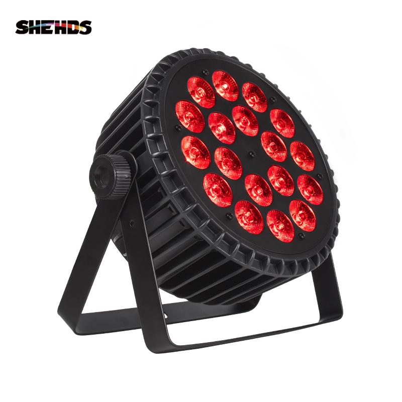 SHEHDS Aluminum Alloy LED Par 18x18W RGBWA+UV Color Lighting DMX512 Channels For Event Disco Party Nightclub Ballroom Stage