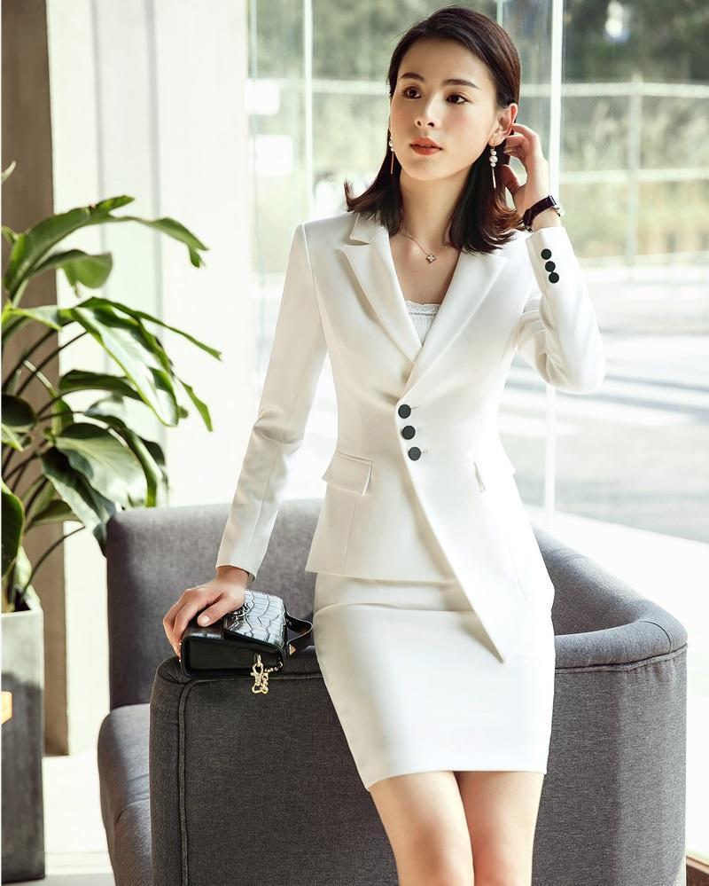 d7490e61fd Compre Moda Damas Irregular Blazer Blanco Mujeres Trajes De Negocios Con  Falda Y Conjuntos De Chaqueta De Trabajo Uniformes De Trabajo OL Estilos A   72.45 ...