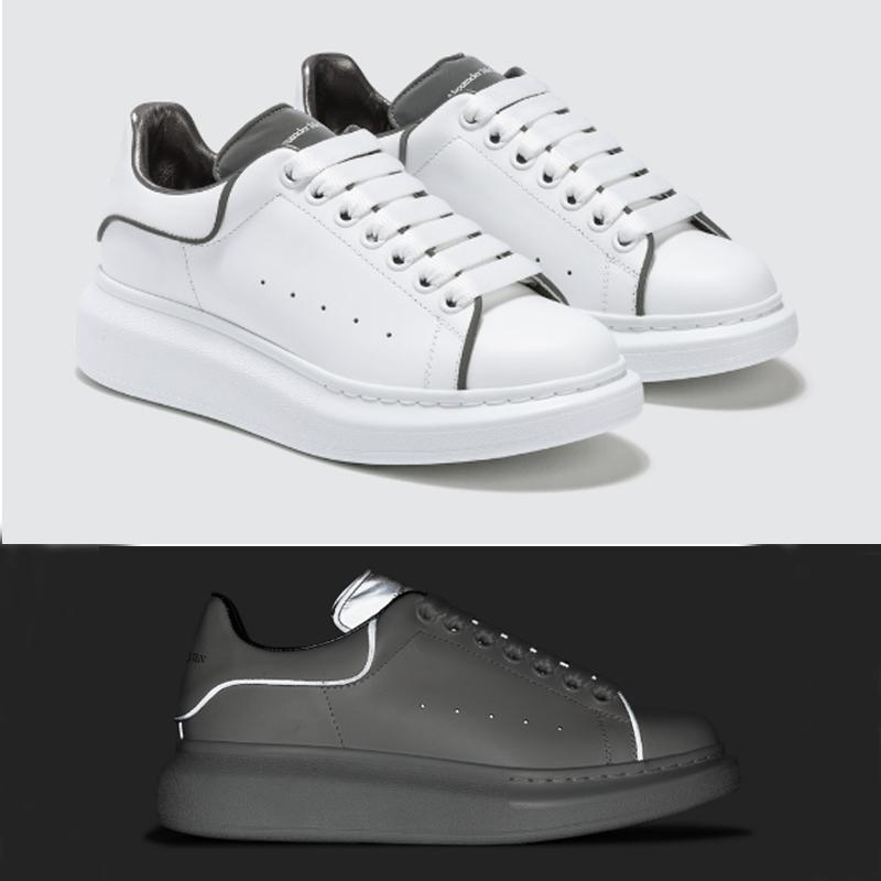 NEW designer shoes Reflective 3M White Platform Sneakers Raised sole Low top Leather Trainers For Men Women Flat Casual Shoes 25 colors