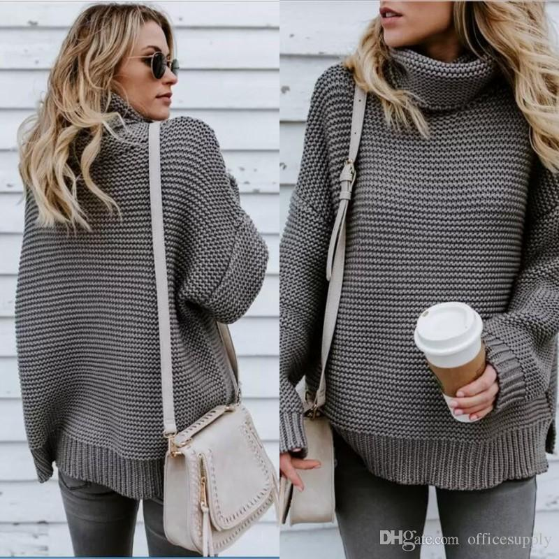 aca416fcc0 Christmas Winter High Neck Pullover Sweaters Casual Knitted Women Thicken Jumper  Loose Pullovers Warm Female Sweater Online with  26.77 Piece on ...