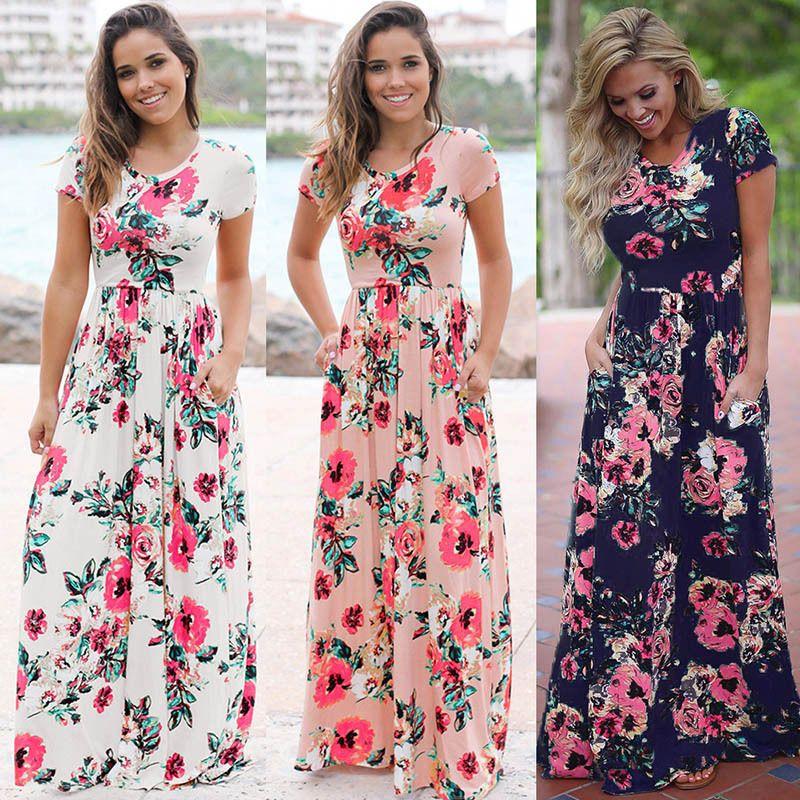a23f9bf1447 2019 Summer Long Dress Women Clothes Floral Print Boho Beach Tunic Maxi  Dress Women Evening Party Designer Dress Drop Shipping Shop Cocktail Dresses  Lace ...