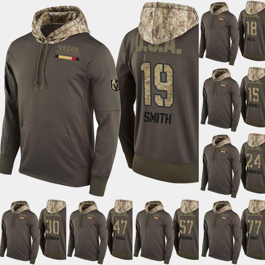 75808658a 2019 Vegas Golden Knights Salute To Service Hoodies 15 Jon Merrill 77 Brad  Hunt 92 Tomas Nosek 30 Malcolm Subban Hockey Sweatershirt Jerseys From ...