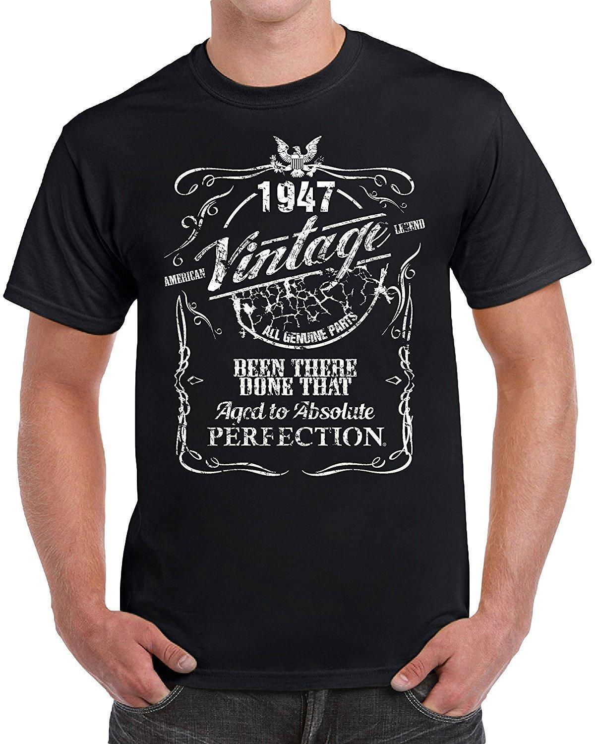 70th Birthday Gifts For Mom Dad Couples Wedding Anniversary 1947 T Shirt Retro 100 Cotton Print Tee Top Plus Size Original Shirts