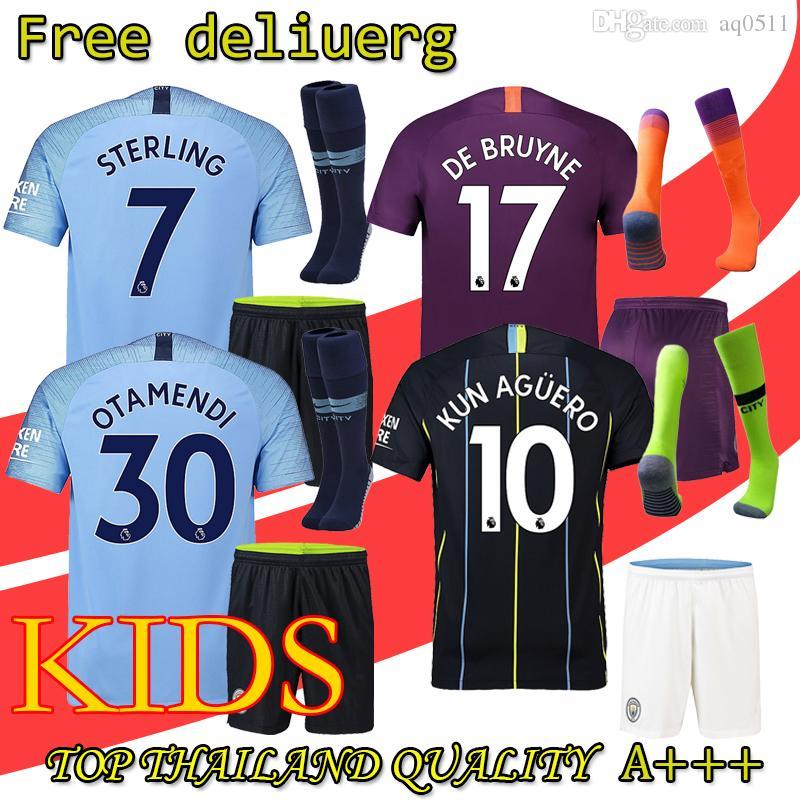 26862f3bb 18 19 Manchester City Kids Soccer Jerseys 2018 KUN AGUERO Kids Kit ...