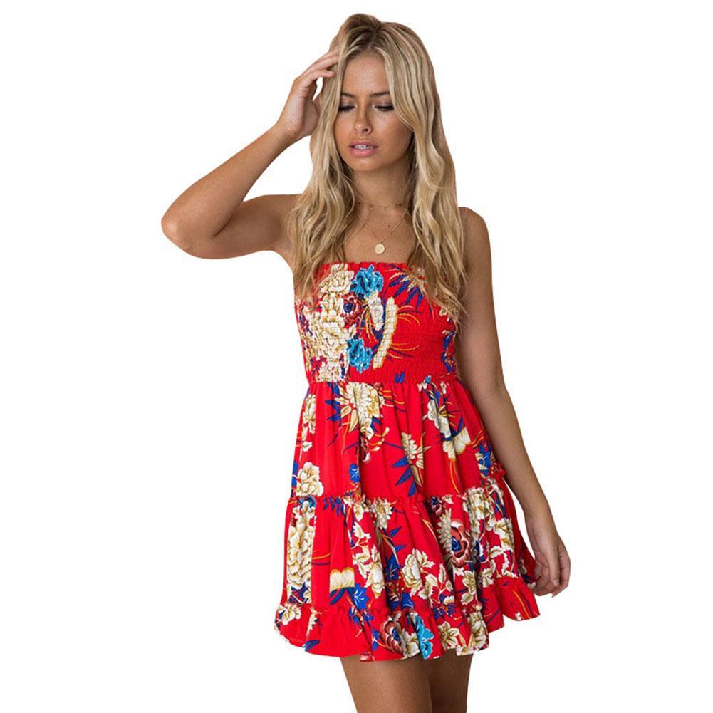 1573409aef07 Mujeres sexy sin tirantes floral de impresión de limón vestido de verano  acanalado con volantes mini playa columpio elegante vestido sin mangas ...