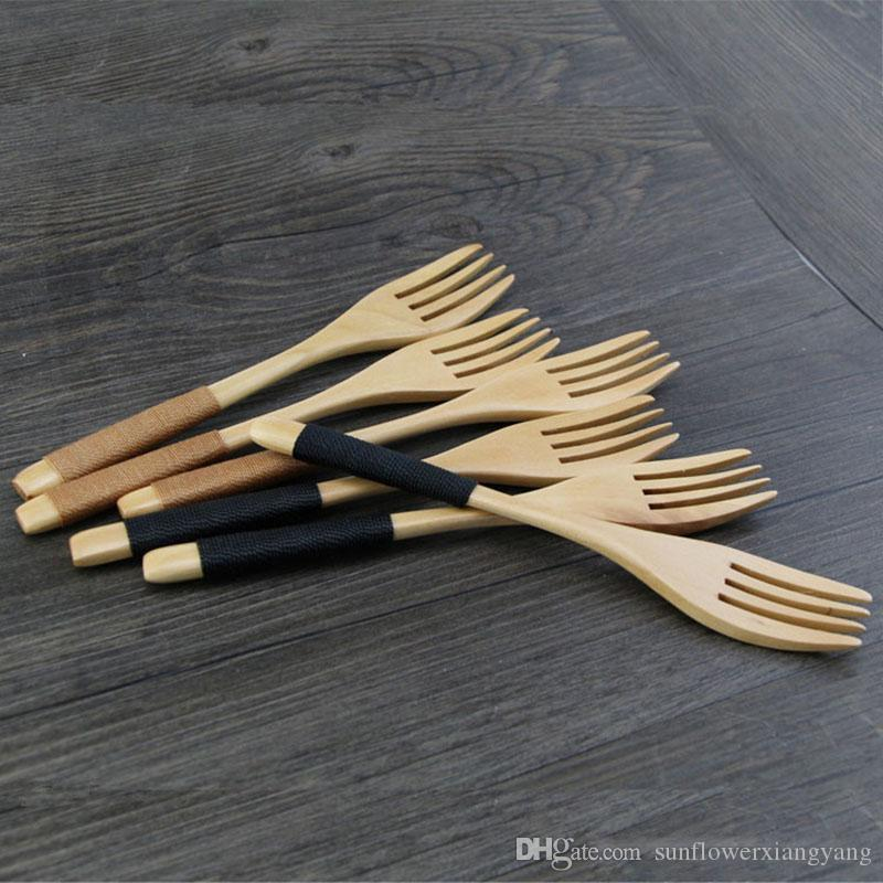 Natural Wooden Dinnerware Forks Portable Travel Cutlery Bamboo Dinerware Spoon Fork Kitchen Dining Bar Tool 6 style
