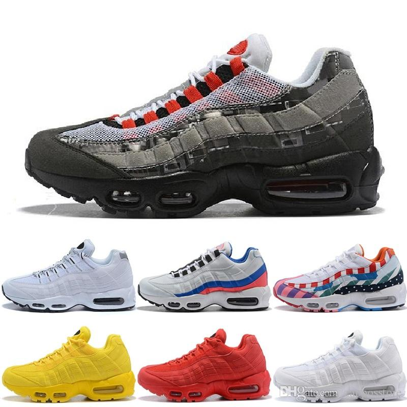 new product 404e4 b770a 95 Mens Womens Running Shoes Classic Black Red White Yellow 95S Sports  Trainer Surface Cushion Breathable Sports Sneakers 36 46 Athletic Shoes  Shoes For Men ...