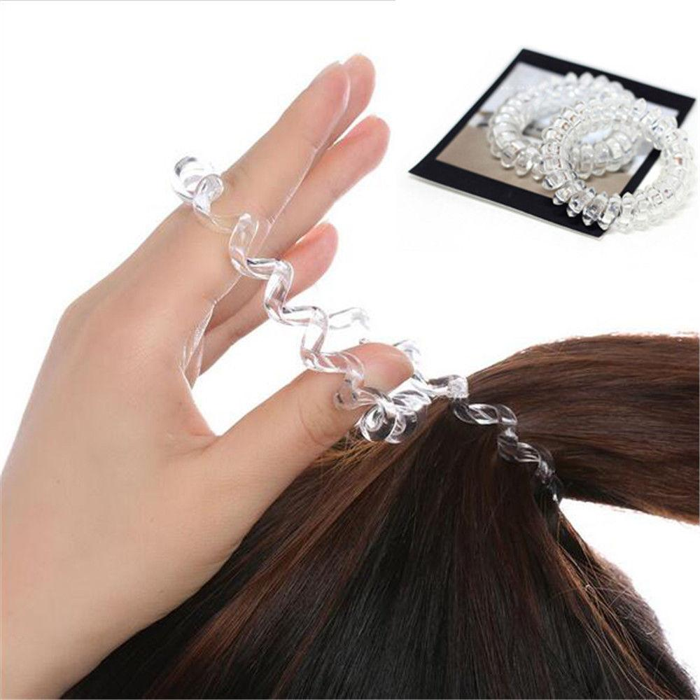 NEW FASHION Clear Elastic Rubber Hairband Phone Wire Hair Tie Rope Band  Ponytail Hair Accessories For Women Lady Girl Wedding Hair Jewelry Headband  Jewelry ... 14462b9d0ab