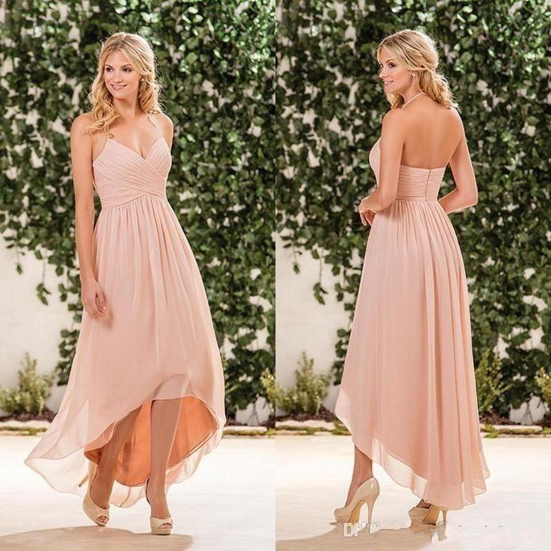 8929604cb0b Cheap Beach Blush Pink High Low Chiffon Bridesmaid Dresses 2019 Halter V  Neck Pleats Zipper Back Beach Country Garden Maid Of Honor Gowns Black Lace  ...