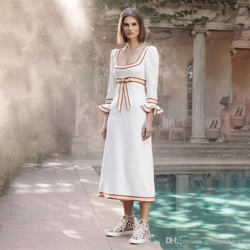 Runway Designer Bow Woman Maxi Dress Sailor Collar High Waist Flare Long Sleeve Print Striped Ruffles Dress Elegant Vestidos