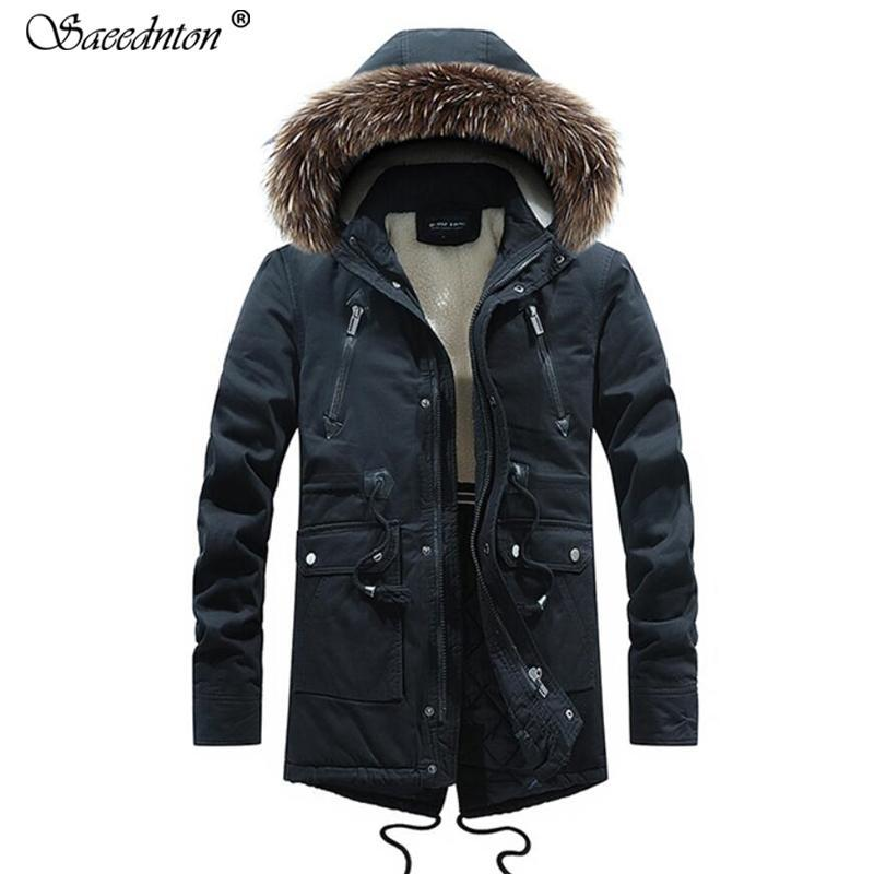Winter Coat For Men 2019 Winter Male Fashion Down Cotton Fur Hooded Collar Thicken Warm Outdoor Parkas Men Casual Padded Jacket