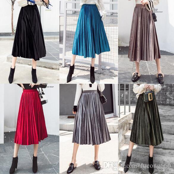 54b0b692b 2019 Gold Velvet Pleated Skirt Skirt Female Spring 2019 New Korean Version  Of The Long Section High Waist Swing Skirt From Fucong666, $10.06    DHgate.Com