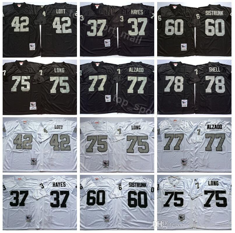 promo code d3325 a0f6a Oakland Vintage Football Raiders 42 Ronnie Lott Jersey Man 37 Lester Hayes  75 Howie Long 77 Lyle Alzado 78 Art Shell Black White
