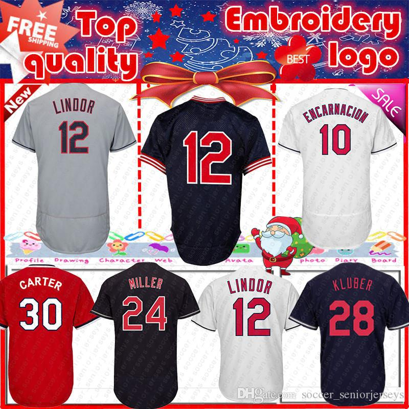 official photos 48f3a 7fa9b Cleveland 12 Francisco Lindor Men s baseball jerseys Indians 30 Tyler  Naquin 28 Corey Kluber Andrew 24 Miller 12 Francisco Lindor jersey
