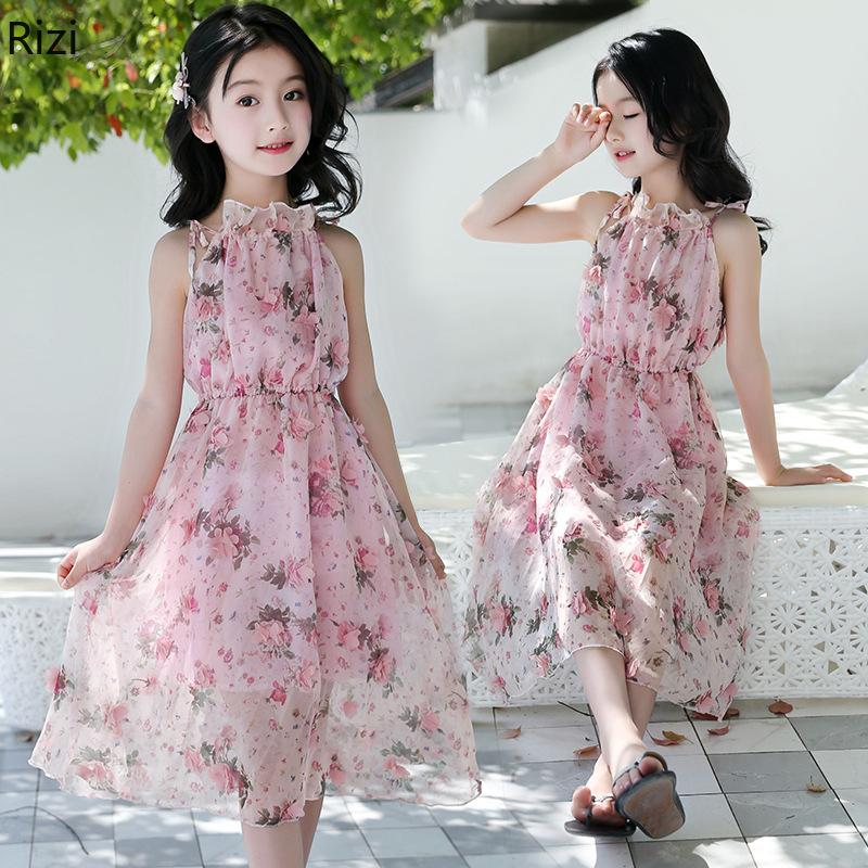 Girls Dress Summer Dress 2019 New Summer Bohemian in The Big Child Floral  Sling Beach Girls Clothing 4,12Y