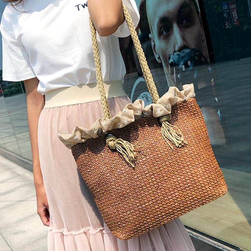 03d7f6d6db Retro Summer Women Large Straw Shoulder Bag Lady Casual Beach Handbag Totes