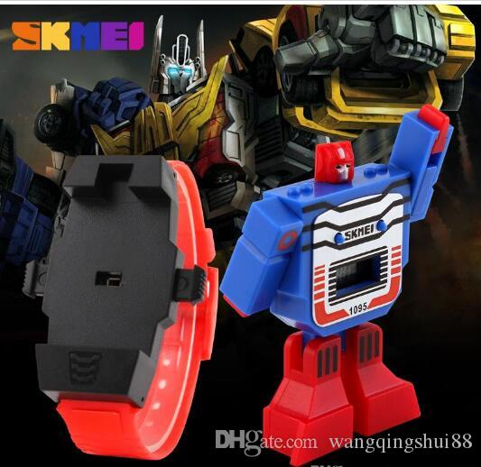 SKMEI Kids Watches LED Digital Children Cartoon Sports Watches Robot Transformation Toys Boys Wristwatches montre enfant Chlid Children 1095