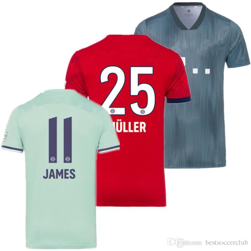 super popular 19314 d492c soccer jersey 2018 2019 LEWANDOWSKI WAGNER JAMES MULLER ROBBEN KIMMICH  HUMMELS 18 19 home away third football shirt top Thailand quality