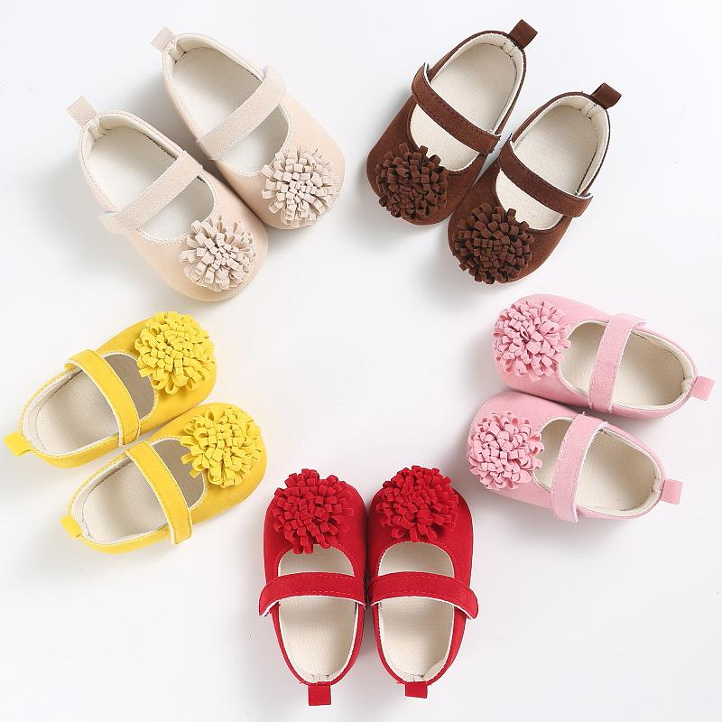 2019 new Infant Baby Girls color flower toddler shoes First Walkersr Newborn soft bottom princess shoes gift Free shipping