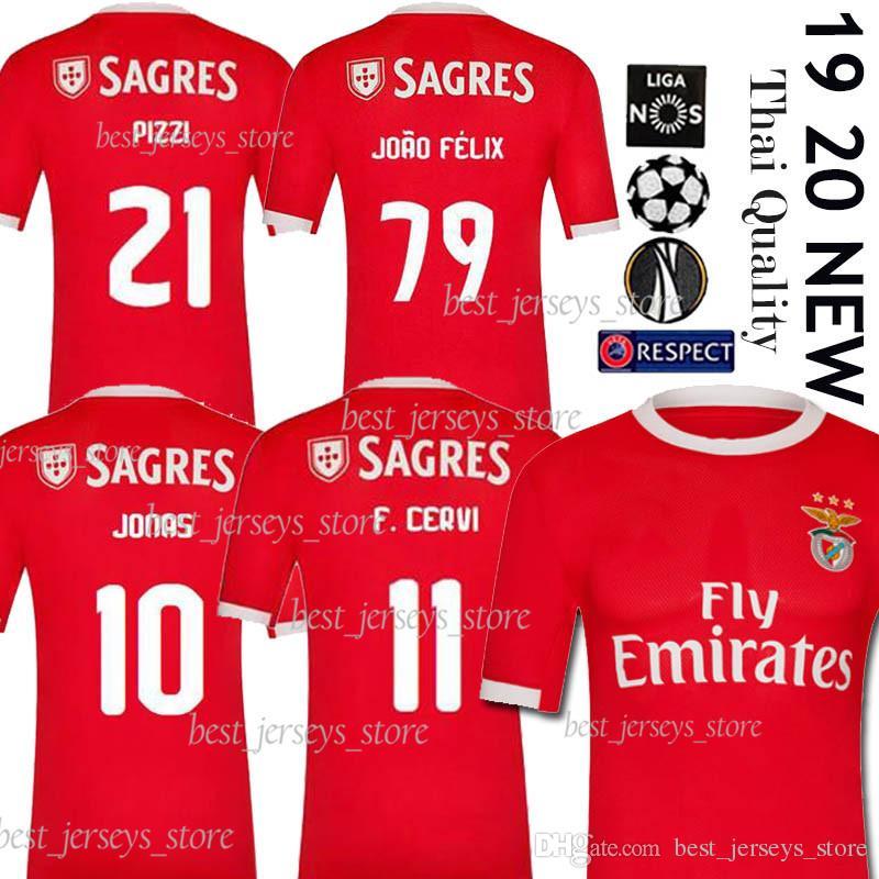 wholesale dealer d9cce f0681 2019 2020 SL Benfica soccer jersey 10 JONAS 18 ZIVKOVIC 19 ELISEU club team  Football uniform GABRIEL B KALAICA SALVIO Top Thailand