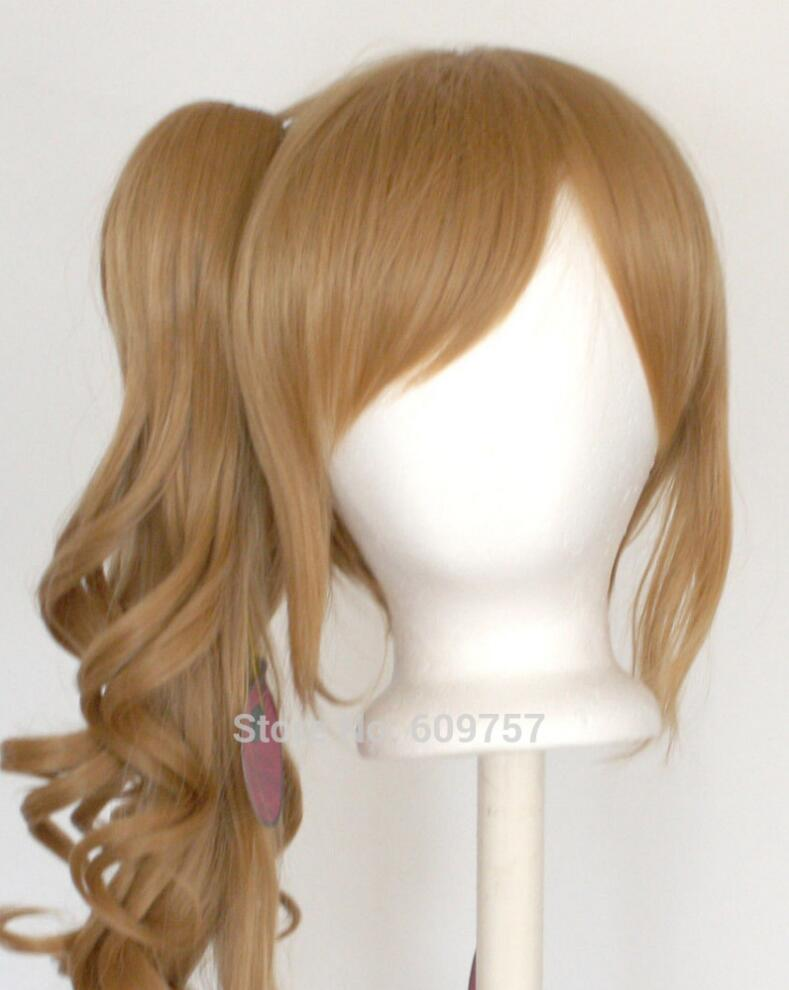 WIG LL Wavy Claw Clip Curly Pony Tail + Base Chestnut Brown Cosplay Wig NEW + ponytai Hairs fibre no Front hair Wigs