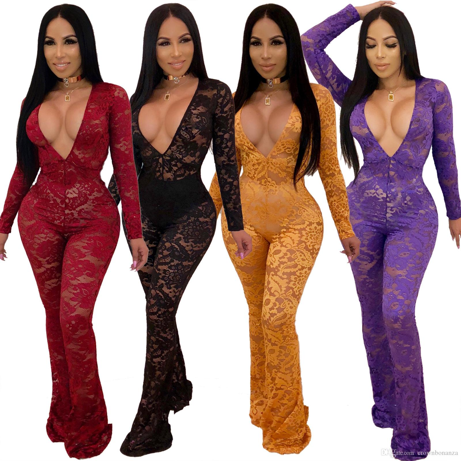 2d016bd59a 2019 Black Lace Jumpsuit Women Deep V Neck Long Sleeve Slim See Through Red  Rompers Overalls Empire Waist Night Club Outfits Skinny Playsuit From ...