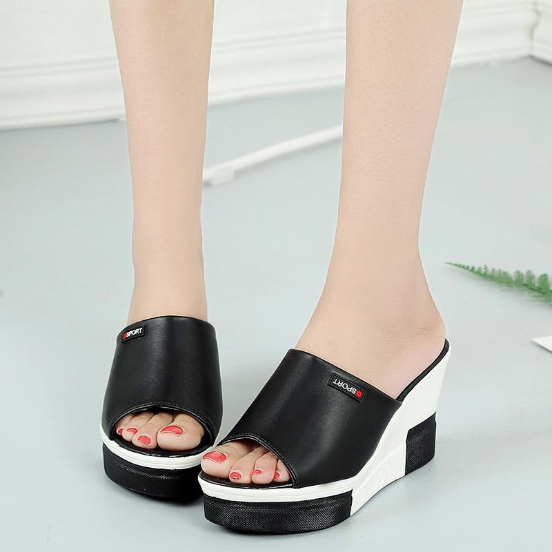 8b422b79d03 Platform soles outdoor sandals women s summer wedges slippers high heels  tide non-slip fish mouth black and white comfortable