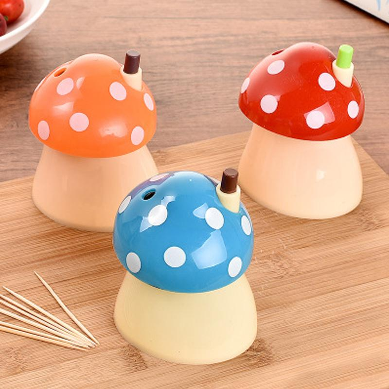 Creative House Mushroom Shaped Automatic Toothpick Holder Small Toothpick Box Kitchen Table Decoration Accessories