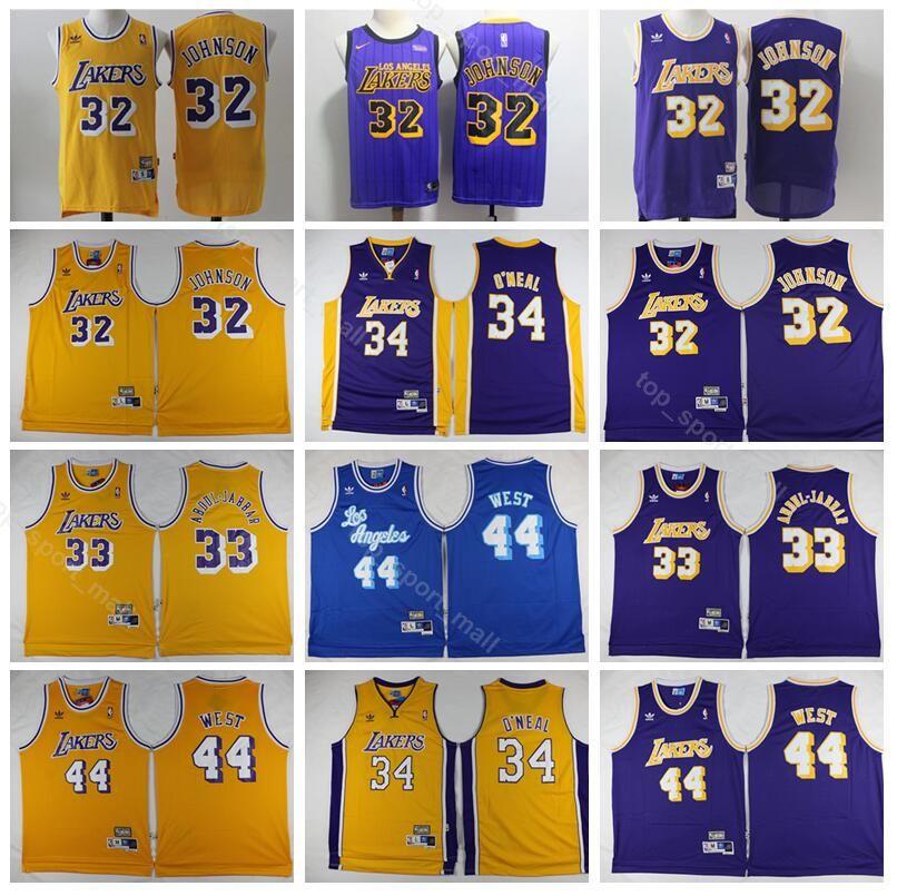 26fe8a7e2 Men Cheap 32 Johnson Jersey Los Angeles Basketball 33 Kareem Abdul Jabbar  Jerry 44 West 34 Shaquille O Neal ONeal Yellow UK 2019 From Vip sport