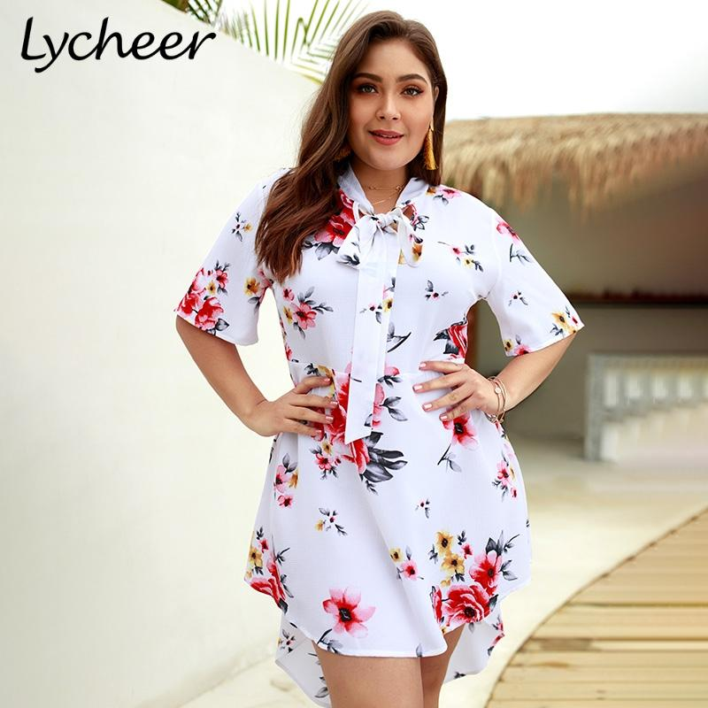 d4546f12dbb Lycheer Plus Size Boho Elegant Big Size Floral Print Women Mini Dress Short  Sleeve Bohemian Summer Holiday Party Short Dresses Cocktail Wear For Women  ...