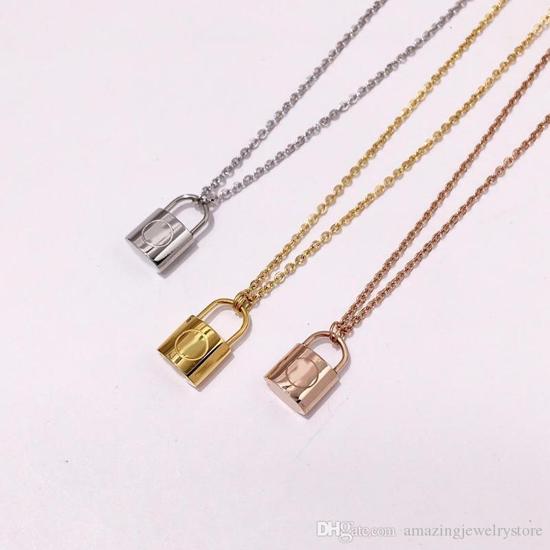 New arrival 316L Titanium steel necklace with padlock pendant for women wedding jewelry gift Free Shipping PS6142