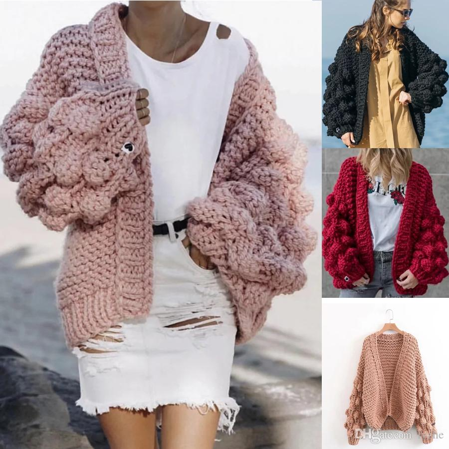 61ab3a8b39 2019 New Fashion Women Ladies Bobble Bubble Sleeve Chunky Knit Open Front  Cardigan Jumper Sweater Jacket Sweater Knit Sweater Cardigan Online with ...